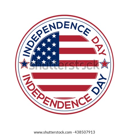 Independence Day round icon over white background. Independence Day design. US Flag and Independence Day inscription. Vector illustration