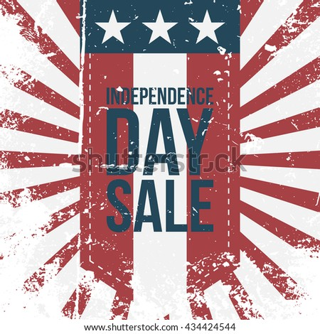 Independence Day Sale greeting vintage Label - stock vector