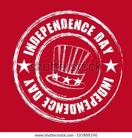 independence day seal over red background. vector illustration - stock vector