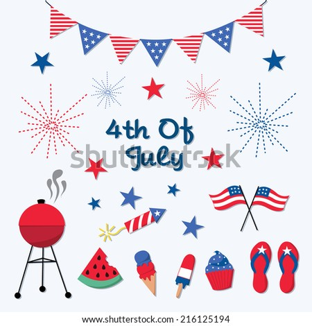 Independence Day, 4th of July Elements Set - stock vector