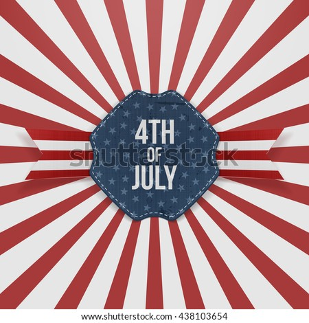 Independence Day 4th of July paper Badge - stock vector