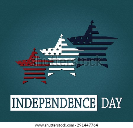Independence Day. 4th Of July. Red, white and blue stars on blue textured background. Vector illustration. - stock vector
