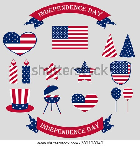 Independence Day. 4th of July. Set symbol