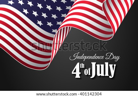 Independence Day 4th of July wallpaper with waving American flag - stock vector