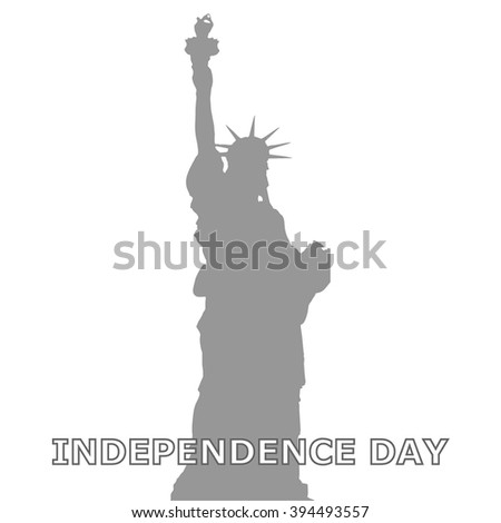 Independence day USA. Flat style, grey Colour.  Vector illustration. EPS 10