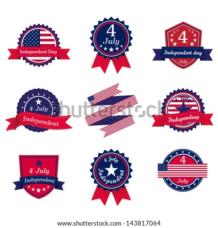Independence day vintage label and retro badge - stock vector