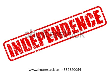 INDEPENDENCE red stamp text on white - stock vector