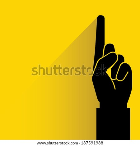 index finger, hand pointing on yellow background, flat and shadow style - stock vector