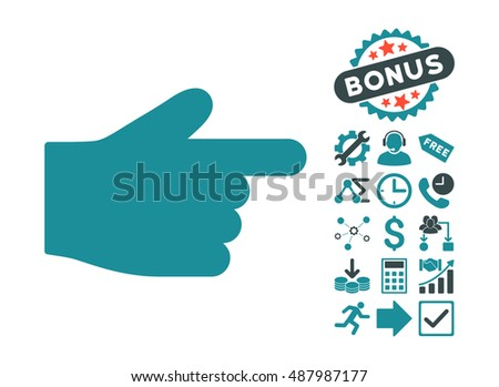 Index Finger icon with bonus pictogram. Vector illustration style is flat iconic bicolor symbols, soft blue colors, white background.