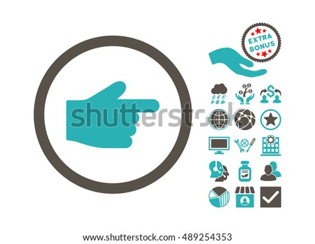 Index Finger icon with bonus pictograph collection. Vector illustration style is flat iconic bicolor symbols, grey and cyan colors, white background.