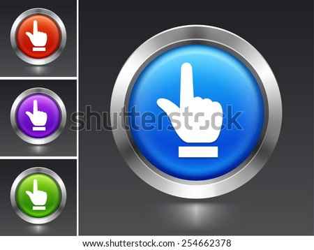 Index Finger Pointing on Blue Round Button