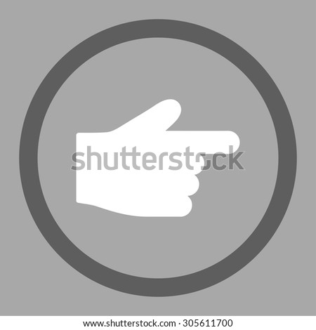 Index Finger vector icon. This rounded flat symbol is drawn with dark gray and white colors on a silver background.