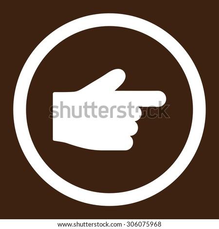 Index Finger vector icon. This rounded flat symbol is drawn with white color on a brown background.