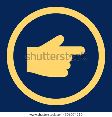 Index Finger vector icon. This rounded flat symbol is drawn with yellow color on a blue background.