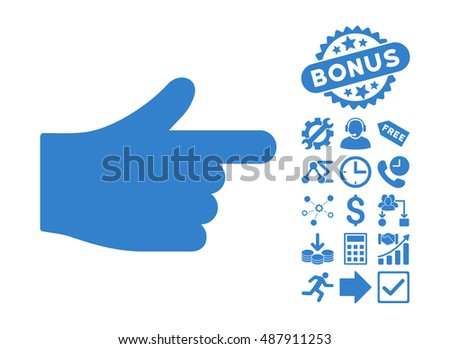 Index Hand icon with bonus design elements. Vector illustration style is flat iconic symbols, cobalt color, white background.
