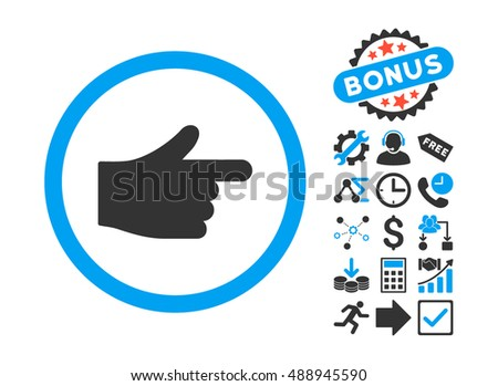 Index Pointer pictograph with bonus pictograph collection. Vector illustration style is flat iconic bicolor symbols, blue and gray colors, white background.