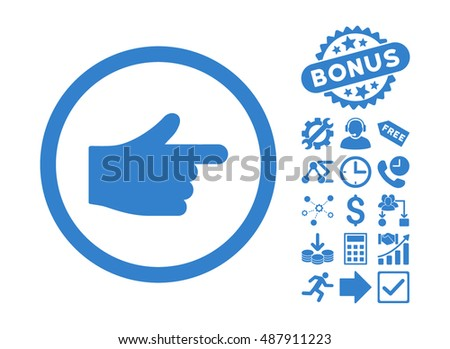 Index Pointer pictograph with bonus symbols. Vector illustration style is flat iconic symbols, cobalt color, white background.
