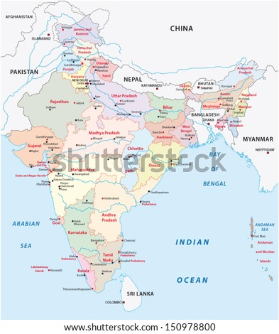 india administrative map - stock vector