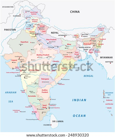 india administrative map 2015 including Telangana - stock vector