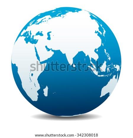 India, Africa, China, Indian Ocean, Global World - stock vector