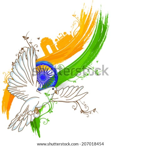 India at a glance, creative view of India with famous monuments, tricolors, asoka wheel and flying pigeon, concept for Independence Day celebrations. - stock vector