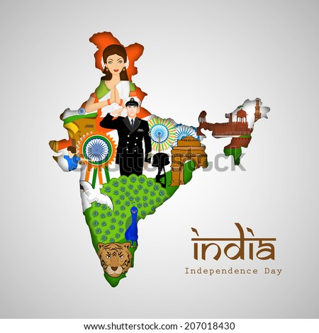 India at a glance, Republic of India map covered by Indian traditional culture, famous monuments, national bird and saluting soldier for Independence Day celebrations.  - stock vector