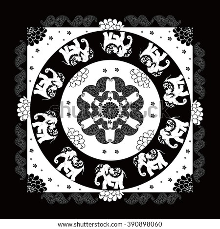 India. Black and white ethnic bandana print with beautiful flowers, paisley and elephants. Summer kerchief square pattern design style for print on fabric. Mandala. - stock vector