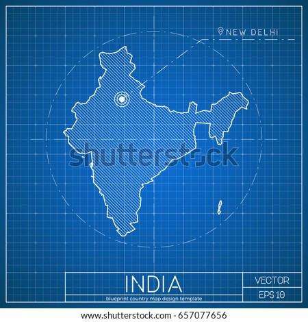 india blueprint map template capital city stock vector royalty free