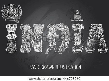 India card with Text. Vector Type with Indian Objects. Hand-drawn on Gray Chalkboard - stock vector