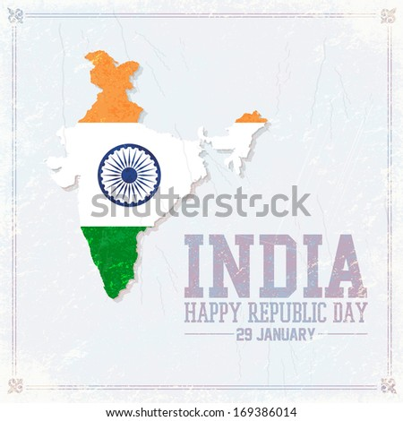 India Concept Republic Day Celebration Card, Background, Badges Vector Template - stock vector