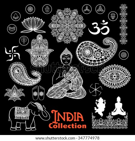 India design elements chalkboard  set  with woman in lotus position elephant  paisley and ornament  vector illustration  - stock vector