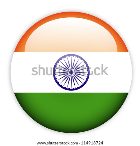 India flag button on white - stock vector