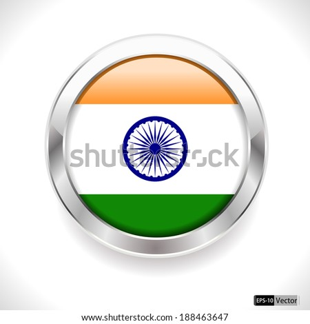 India Flag Glossy Button, india flag badge - vector eps10