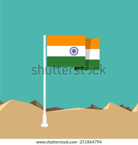 India flag in flat design - stock vector