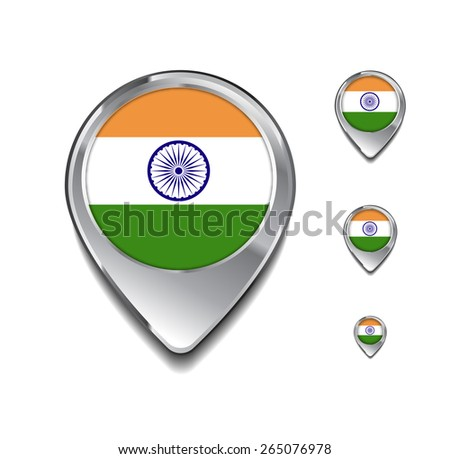 India flag map pointer. 3d Map Pointer with flag glossy button style on gray background