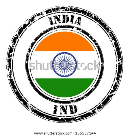 India grunge flag on button stamp