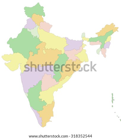 India - Highly detailed editable political map. - stock vector