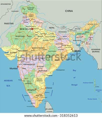 India - Highly detailed editable political map with labeling.