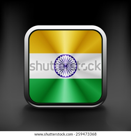 India icon flag national travel icon country symbol button. - stock vector
