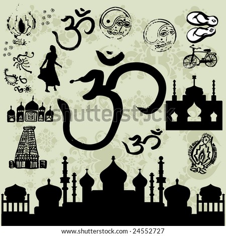 India illustrations - stock vector