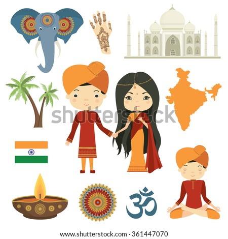 India Indian Culture Vector Set Stock Vector 361447070