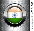 India, Indian flag button on metal background, vector. - stock vector