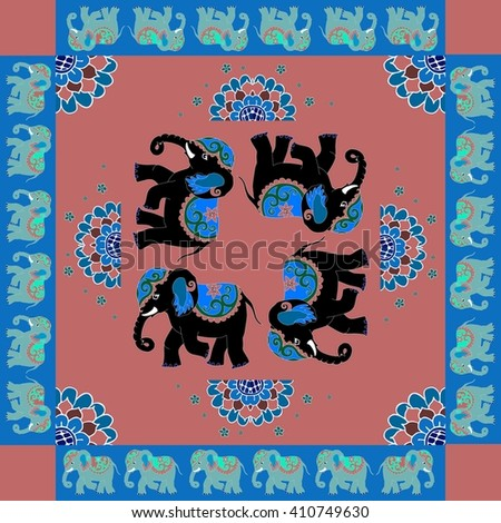 India. Lovely tablecloth or quilt. Ethnic bandana print with ornamental border. Silk neck scarf with flowers and elephants. Summer kerchief square pattern design style for print on fabric. - stock vector