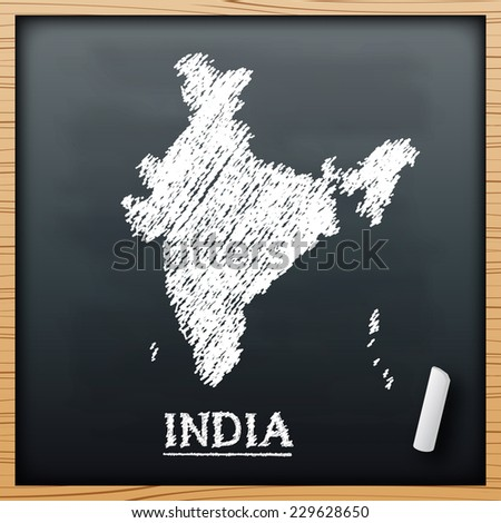 india map chalkboard design effect in vector format - stock vector