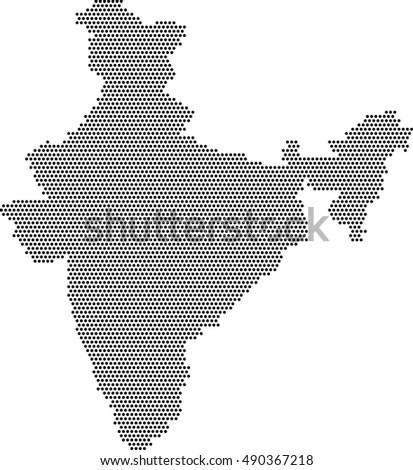 india map fill with black dots, vector background