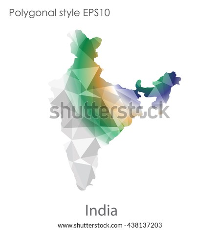 India map in geometric polygonal style.Abstract gems triangle,modern design background.. Vector illustration EPS10