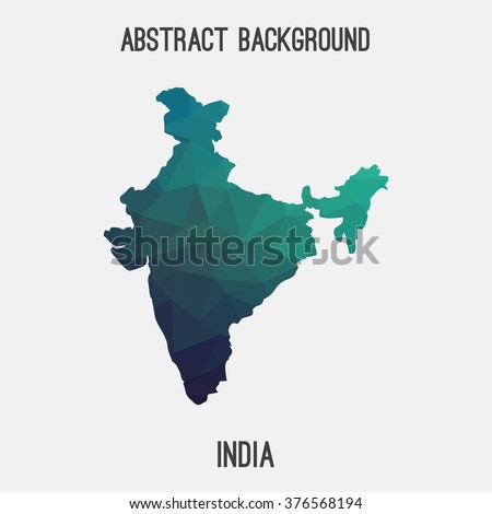 India map in geometric polygonal style.Abstract tessellation,modern design background. Vector illustration EPS8 - stock vector