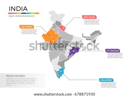 India Map Infographics Vector Template Regions Stock Vector ...