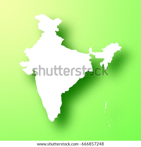 India Map Long Shadow On White Stock Vector Shutterstock - India map vector