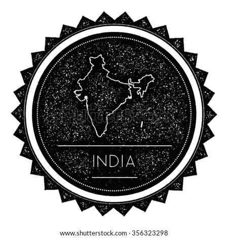 India Map Label with Retro Vintage Styled Design. Hipster grungy insignia vector illustration - stock vector